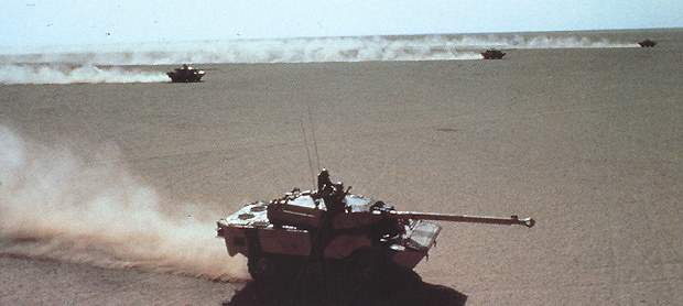 The AMX 10RC is a medium-weight reconnaissance vehicle.