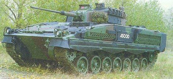 The ASCOD armoured fighting vehicles have a reduced signature due to low silhouette.