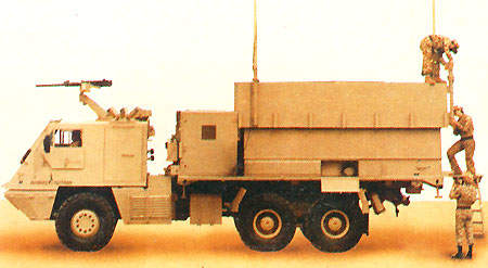 The command and control vehicle (AV-VCC) provides the Battalion level with coordination and direction of firing missions for up to three Astros batteries.