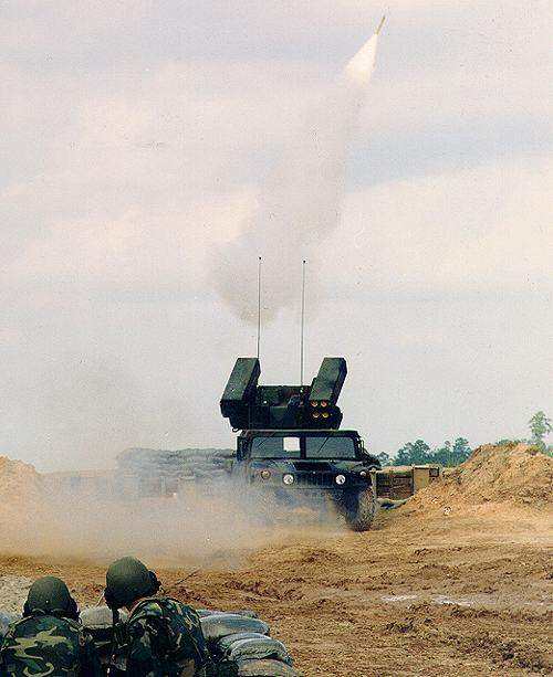The Avenger air defence system firing a Stinger missile.