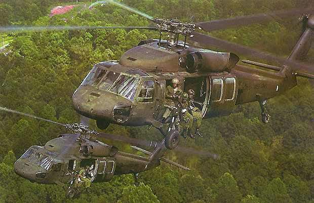 Two US Army S-70A Black Hawk helicopters. The UH-60 Black Hawk has been operational in the US Army since 1978.