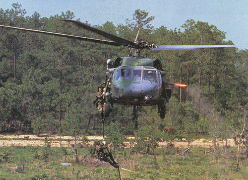 An HH-60G Pave Hawk helicopter from Sikorsky, part of the Hawk family of helicopters.