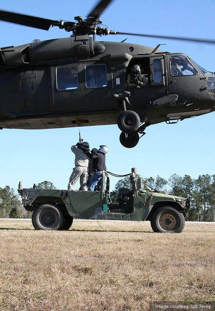 Sling loading the UH-60 Black Hawk helicopter.