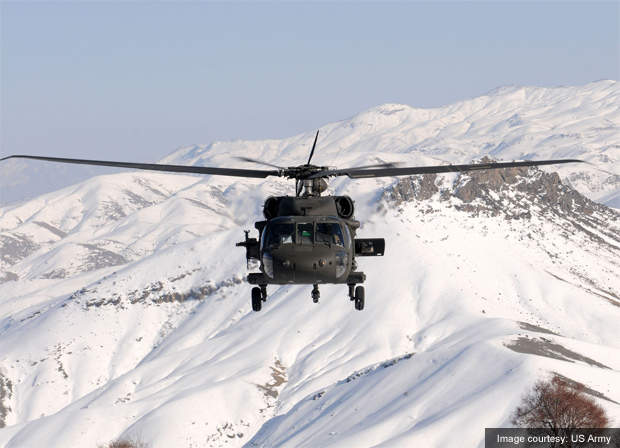 The UH-60 Black Hawk helicopter.