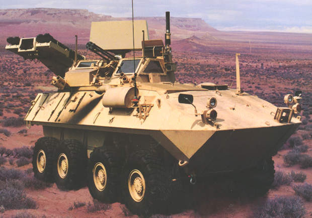 The LAV-AD Light Armoured Vehicle in a desert setting