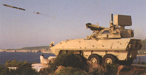 A Stinger missile being fired from the LAV-AD Light Armoured Vehicle