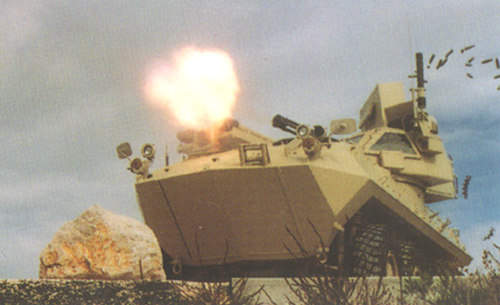 A LAV-AD Light Armoured Vehicle with a GAU-12/U 25mm Gatling gun attached