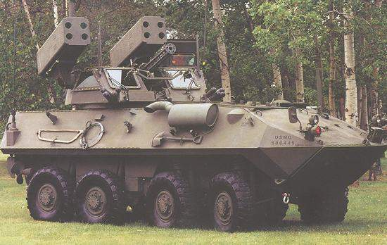 A LAV-AD Light Armoured Vehicle armed with Stinger missile launchers