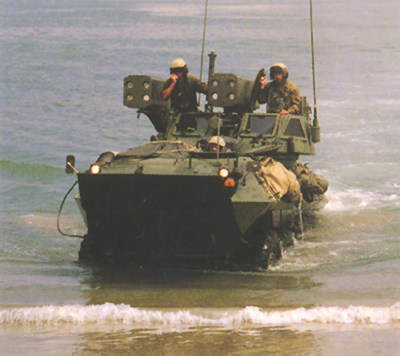 The LAV-AD Light Armoured Vehicle semi submerged in water