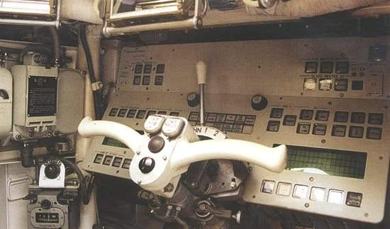 The upgraded BMP-3 driver's station.
