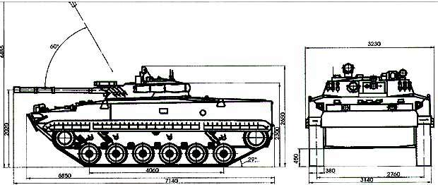 Schematic showing the external dimensions of the BMP-3 infantry fighting vehicle.