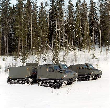 The Bv206S is an APC version of the tracked articulated all terrain vehicle.