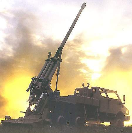 The Caesar truck mounted artillery system is a 155mm 52-calibre self-propelled gun.