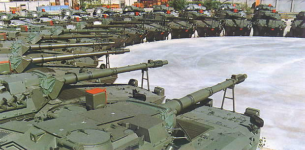 Fleet of Centauro tanks in a courtyard setting