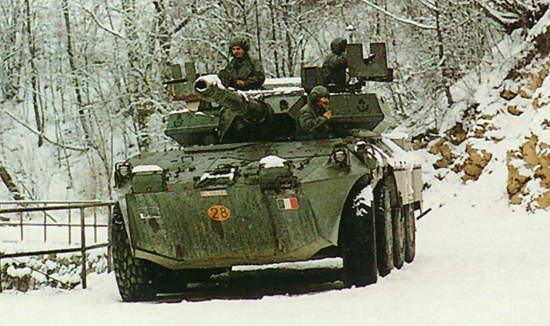 Centauro tank destroyer in a snowy Winter environment