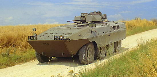 Centauro armoured personnel carrier travelling down a country road