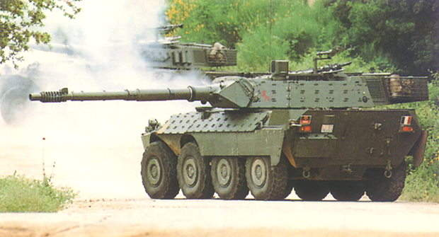 The Centauro anti-tank low-recoil force rifled gun fires standard NATO ammunition including APFSDS rounds.
