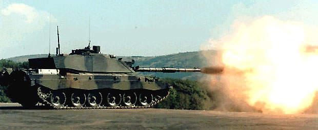 Challenger 2 tank firing a shell during firing range testing