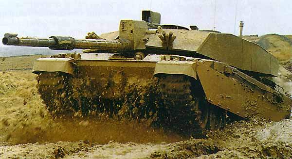 Challenger 2 tank during an exercise fording a water trench
