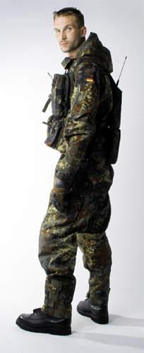 Man wearing camoflage combat uniform.