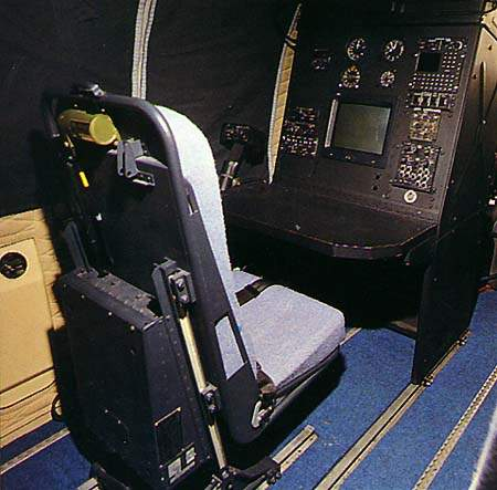 The cabin console with Radar and FLIR display.