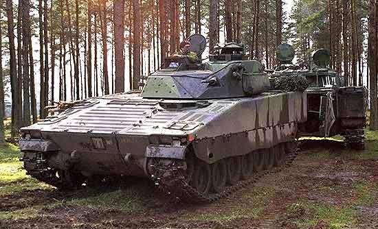 CV90 Forward Command Vehicle (FCV) in a forest on operations