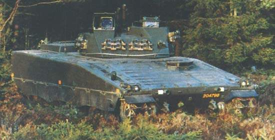 CV90 Forward Observation Vehicle (FOV) in wooded setting