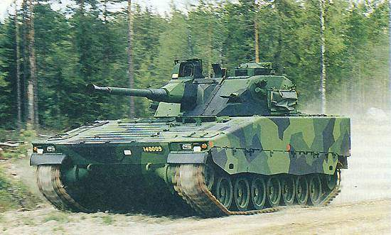 The CV9040 Infantry Fighting Vehicle (IFV) travelling at speed