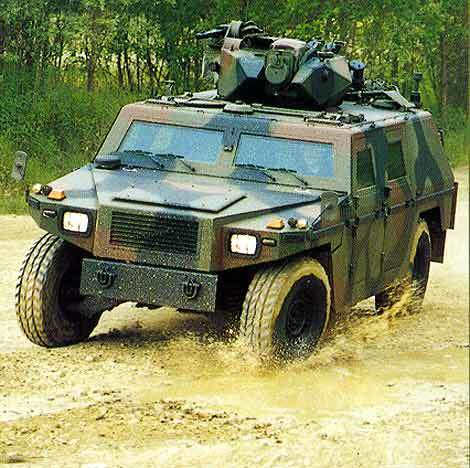 The Eagle II reconnaissance vehicle cornering