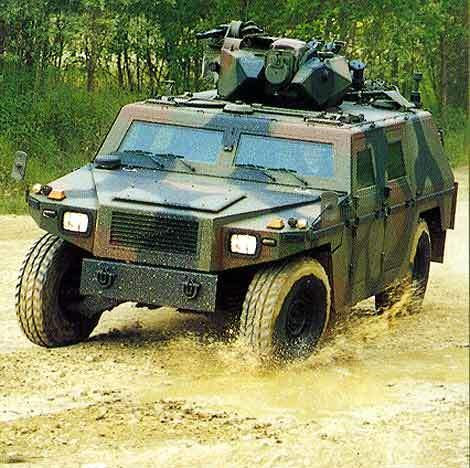 The Eagle II reconnaissance vehicle cornering