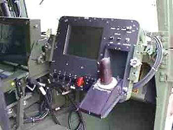 The gunner's console with a joystick control.