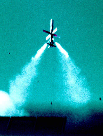EFOGM fibre-optic guided missile in flight.