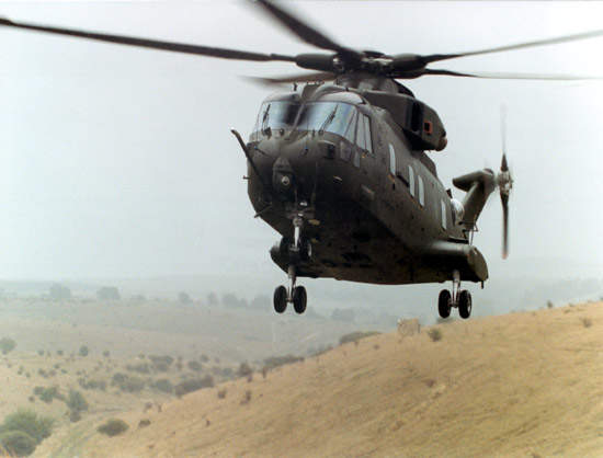 Large AW101 transport helicopter coming in land capable of carrying 30 troops