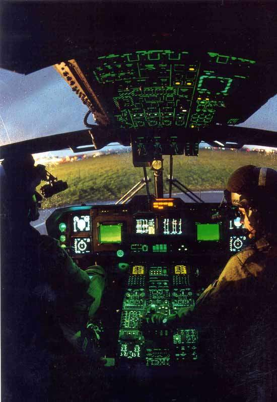 Interior controls of the AW101 transport helicopter