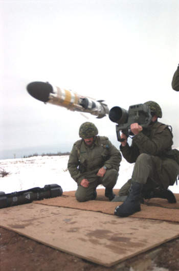 The Eryx short-range anti-armour missile system being fired by the Canadian Army.