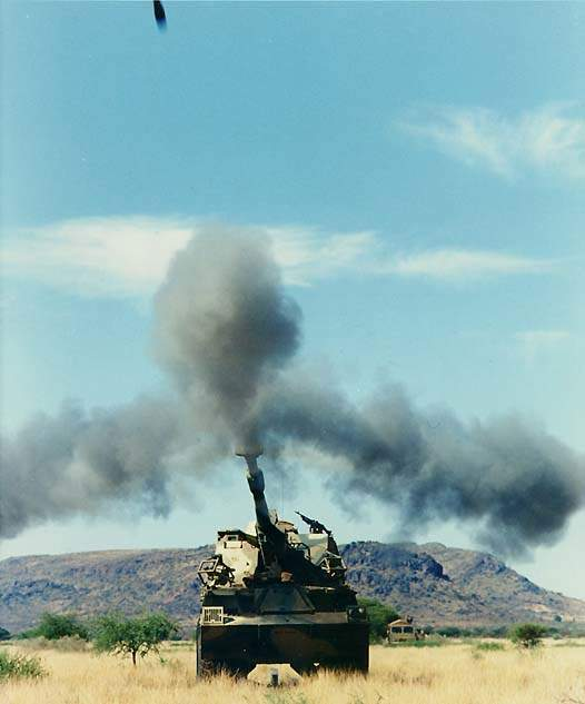 G36 artillery gun firing its main cannon