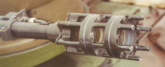 The gun muzzle of the Gepard tanks cannon