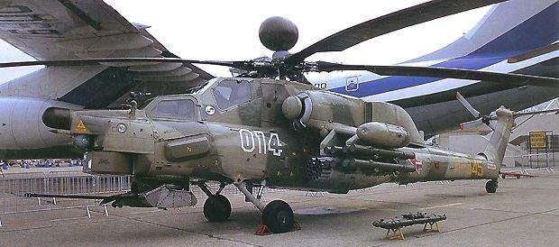 The Mi-28N helicopter on show, with both its systems and sensors installed.