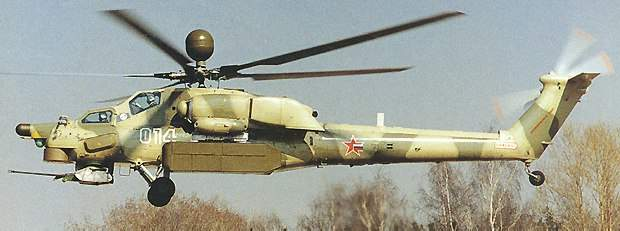 The g-loading of the Mi-28N exceeds 3g.