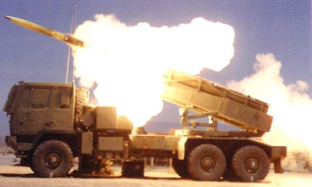 Side view of the HIMARS being fired