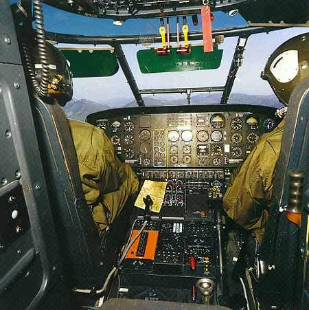 The interior view from the AS 532 helicopter cockpit