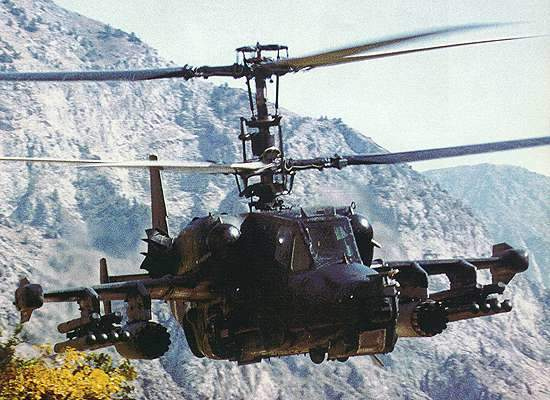 Ka-50 has small mid-mounted wings, fitted with four underwing suspension units and wingtip countermeasures pods.