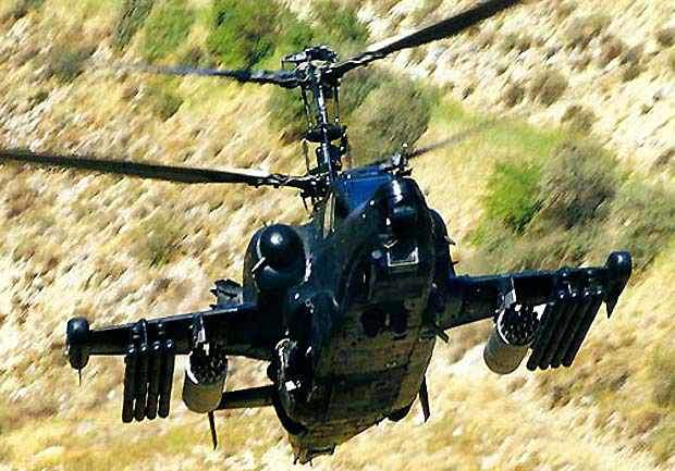 Ka-50 Black Shark Attack Helicopter in flight on patrol.