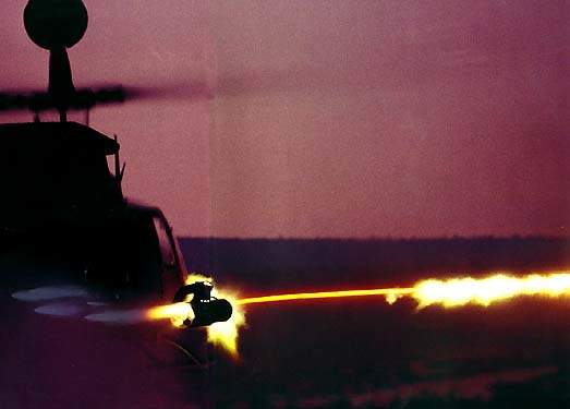 The Kiowa Warrior helicopter firing a Hydra 70 rocket.