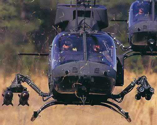 Kiowa Warrior Reconnaissance helicopter with two universal quick change weapons pylons