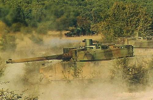Leclerc Main Battle Tank firing whilst moving