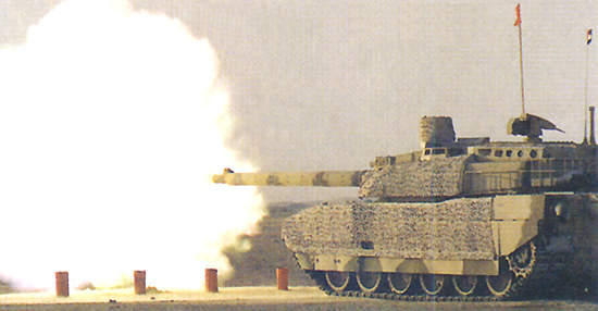 Leclerc Main Battle Tank firing its main 120mm cannon