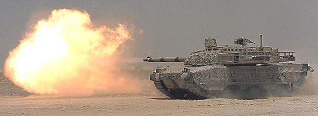 The Leclerc main battle tank firing its main cannon