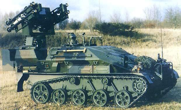 The LeFlaSys Ozelot weapon system, based on the Wiesel 2 carrier vehicle .