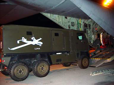 The LUNA system being loaded onto a C-130 aircraft for transportation from Germany to Norway for Operation Strong Resolve in 2002.